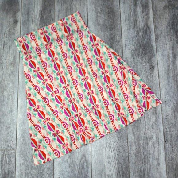 LULAROE Azure Aztec Boho Print Stretch Midi Skirt